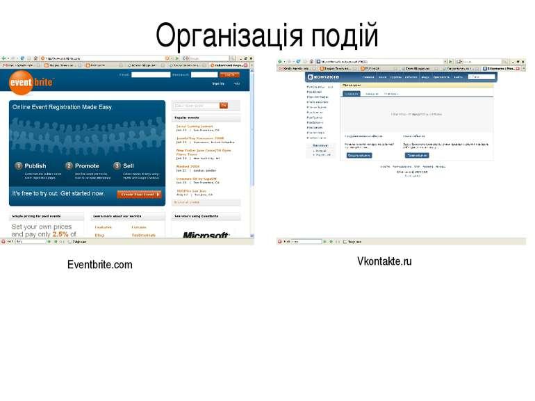 Організація подій Eventbrite.com Vkontakte.ru
