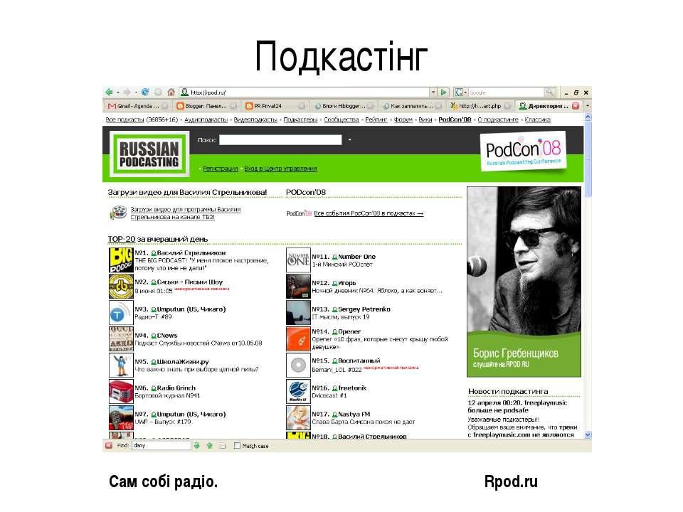 Подкастінг Сам собі радіо. Rpod.ru