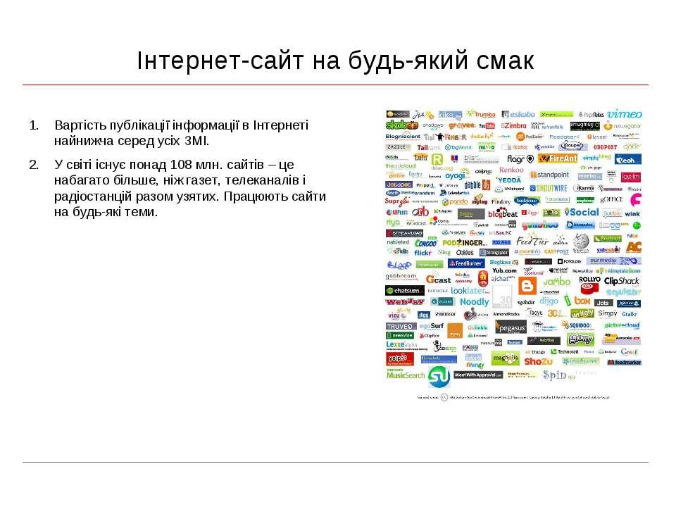 Інтернет-сайт на будь-який смак Вартість публікації інформації в Інтернеті на...