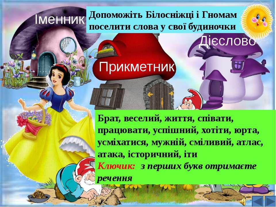 Іменник Прикметник Дієслово Допоможіть Білосніжці і Гномам поселити слова у с...