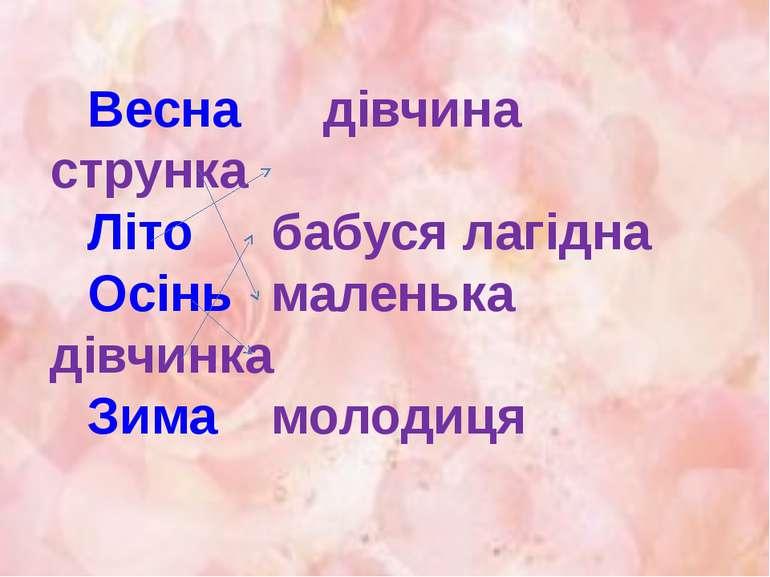 Весна дівчина струнка Літо бабуся лагідна Осінь маленька дівчинка Зима молодиця