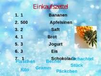 Einkaufszettel 1 Bananen 500 Apfelsinen 2 Saft 1 Brot 3 Jogurt 3 Eis 1 Schoko...