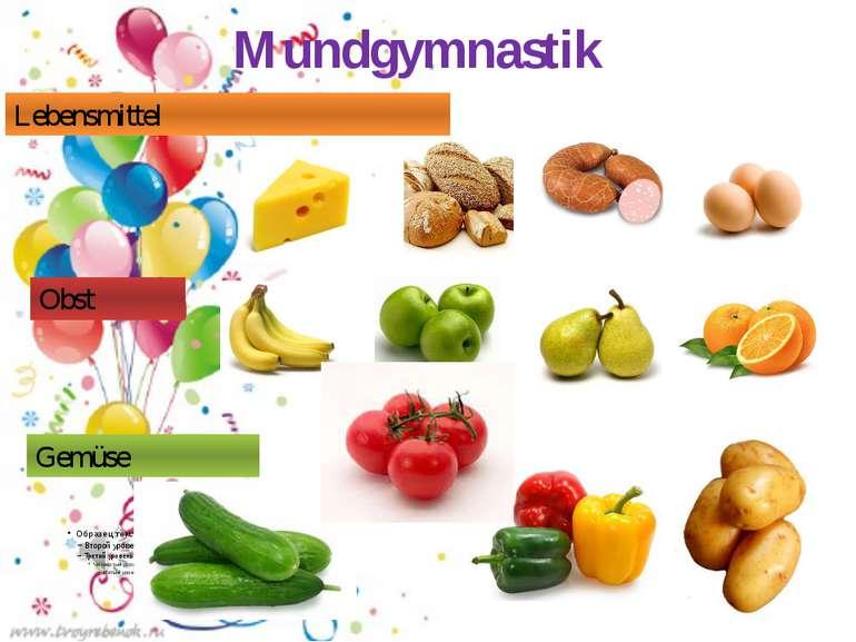 Mundgymnastik Lebensmittel Obst Gemüse