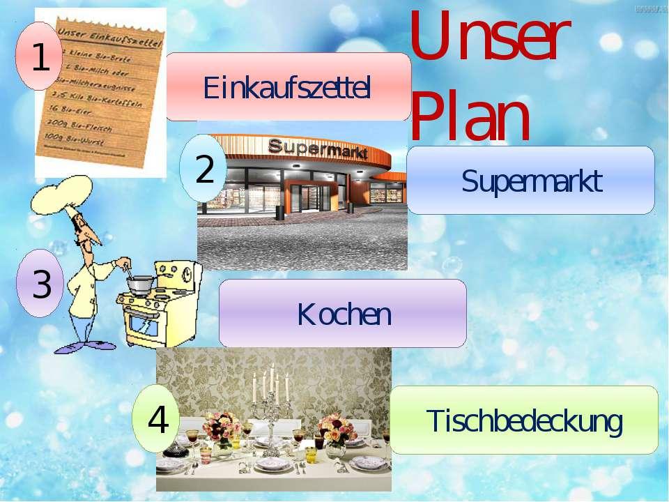 Unser Plan Einkaufszettel 1 2 Supermarkt 3 Kochen 4 Tischbedeckung