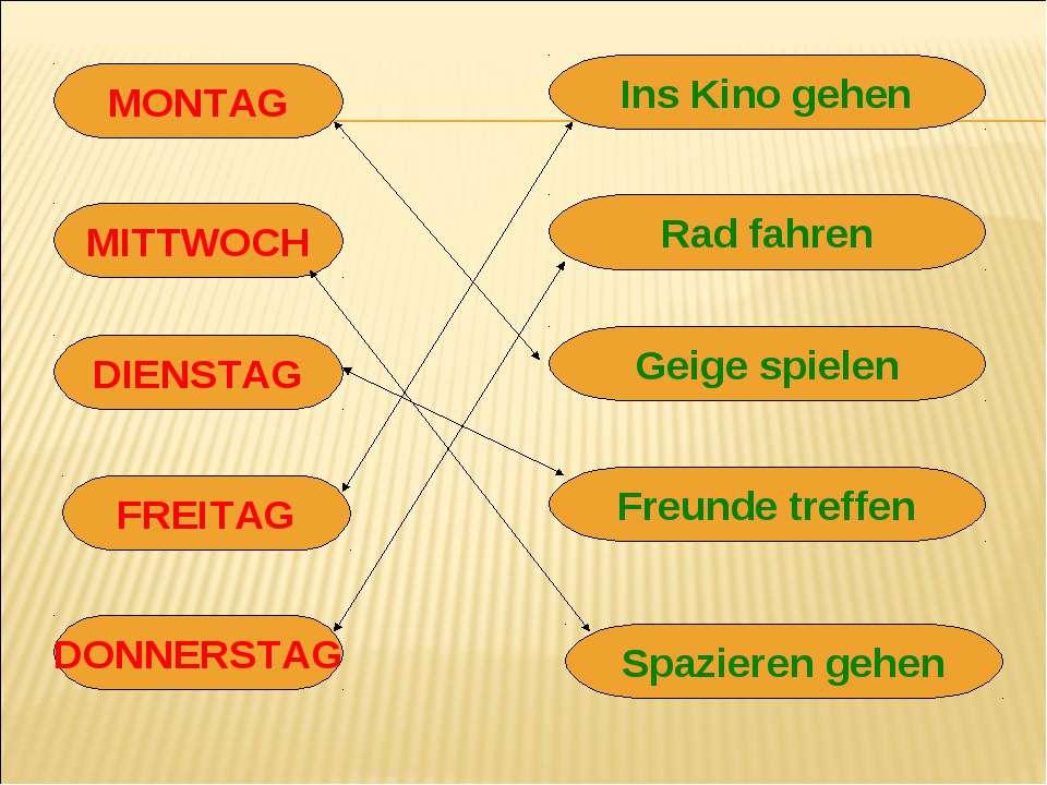 MONTAG MITTWOCH DIENSTAG FREITAG DONNERSTAG Ins Kino gehen Rad fahren Geige s...