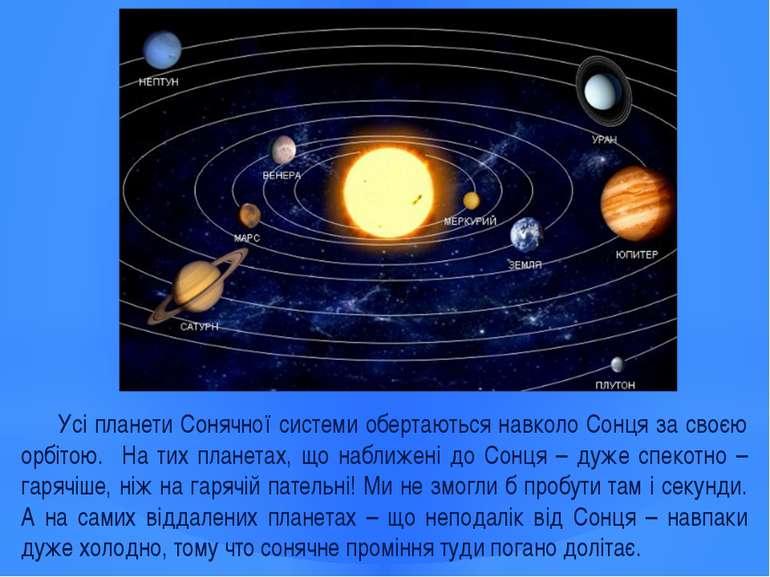 Усі планети Сонячної системи обертаються навколо Сонця за своєю орбітою. На т...