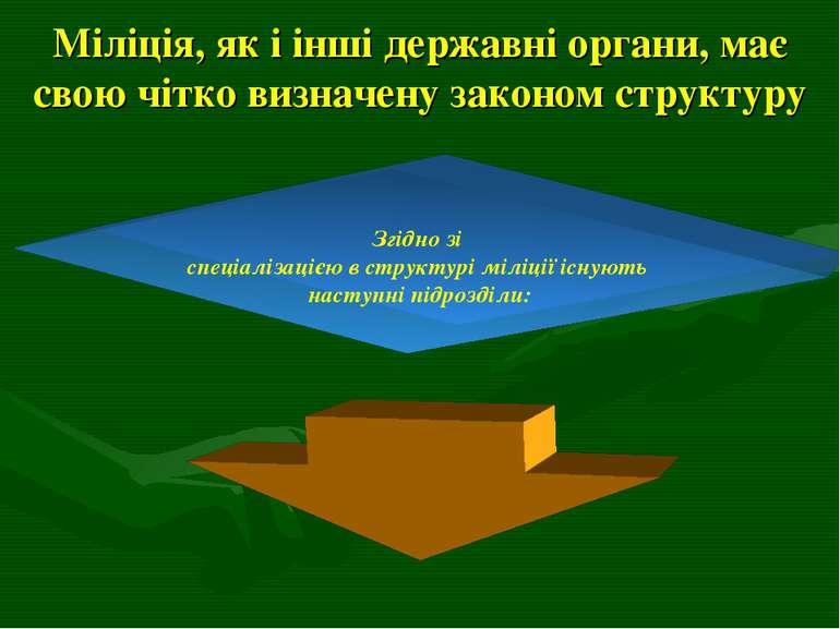 Міліція, як і інші державні органи, має свою чітко визначену законом структур...