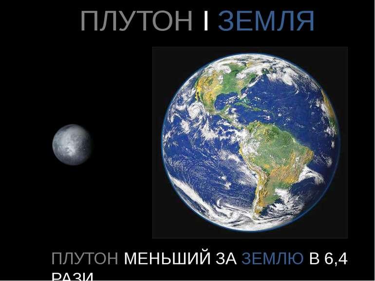 ПЛУТОН І ЗЕМЛЯ ПЛУТОН МЕНЬШИЙ ЗА ЗЕМЛЮ В 6,4 РАЗИ