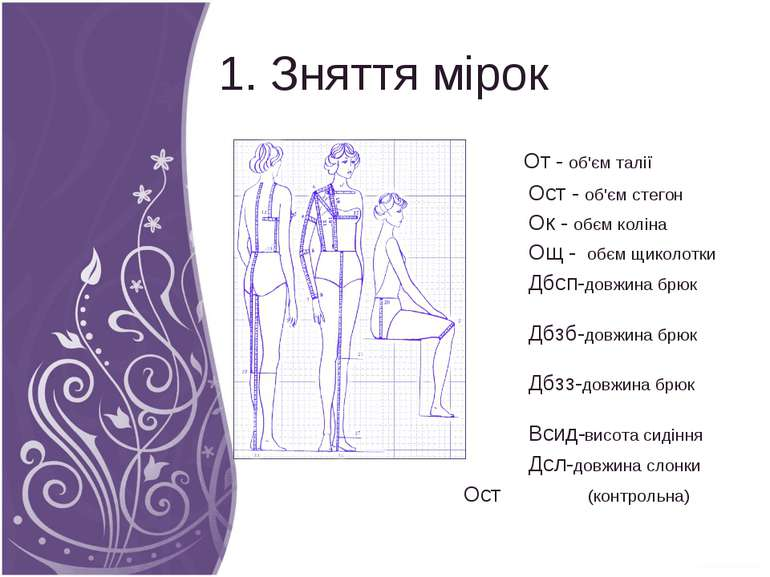 1. Зняття мірок От - об'єм талії Ост - об'єм стегон Ок - обєм коліна Ощ - обє...