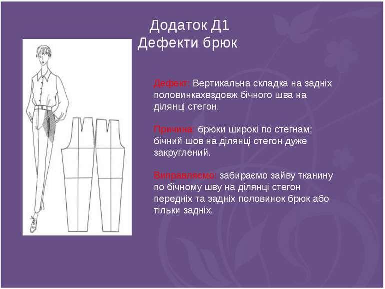 Додаток Д1 Дефекти брюк Дефект: Вертикальна складка на задніх половинкахвздов...