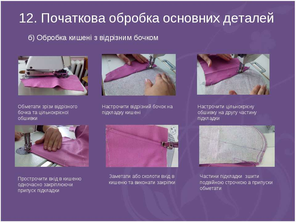 12. Початкова обробка основних деталей б) Обробка кишені з відрізним бочком О...