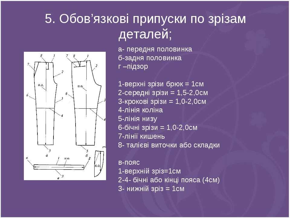 5. Обов'язкові припуски по зрізам деталей; а- передня половинка б-задня полов...