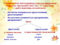 Різноманітність квіток (робота з текстом підручника) Завдання. Прочитайте тек...