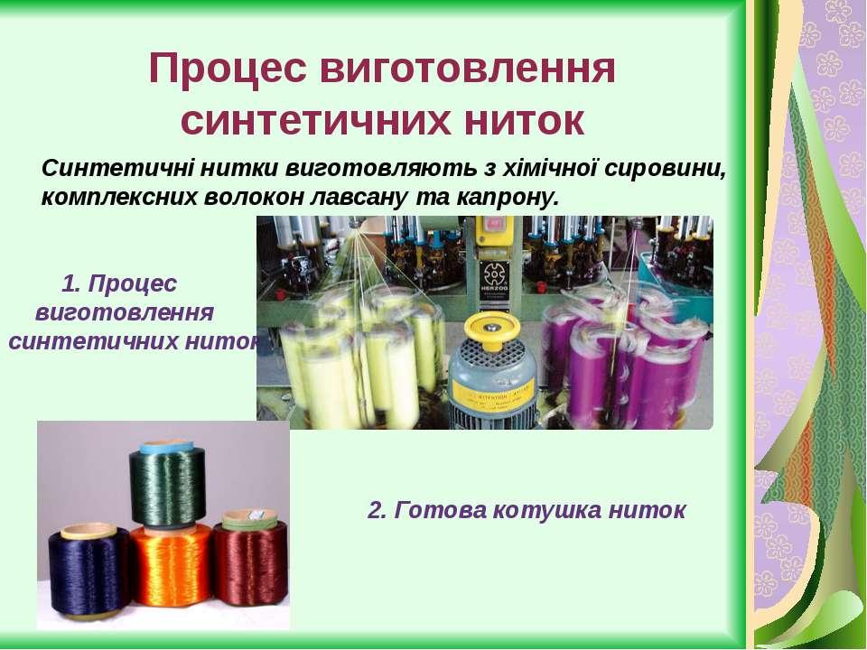 Процес виготовлення синтетичних ниток Синтетичні нитки виготовляють з хімічно...