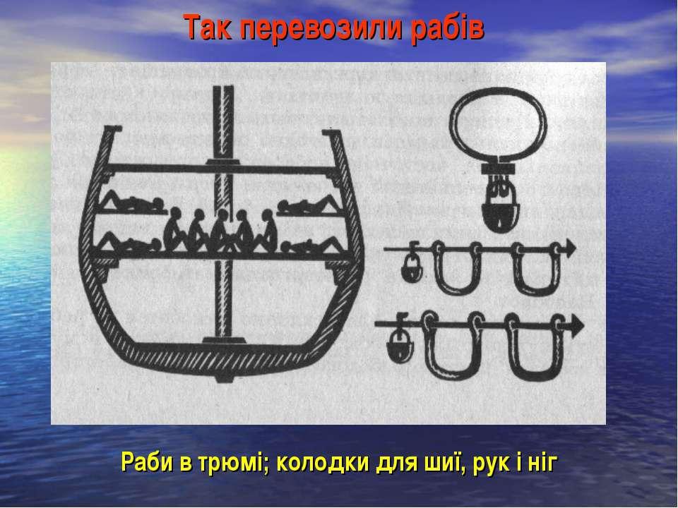Так перевозили рабів Раби в трюмі; колодки для шиї, рук і ніг