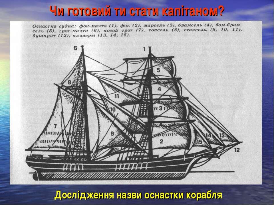 Чи готовий ти стати капітаном? Дослідження назви оснастки корабля