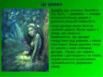 Це цікаво Дріади (др.-грецьк. δρυάδος, від δρΰς — дерево) — німфи, покровител...