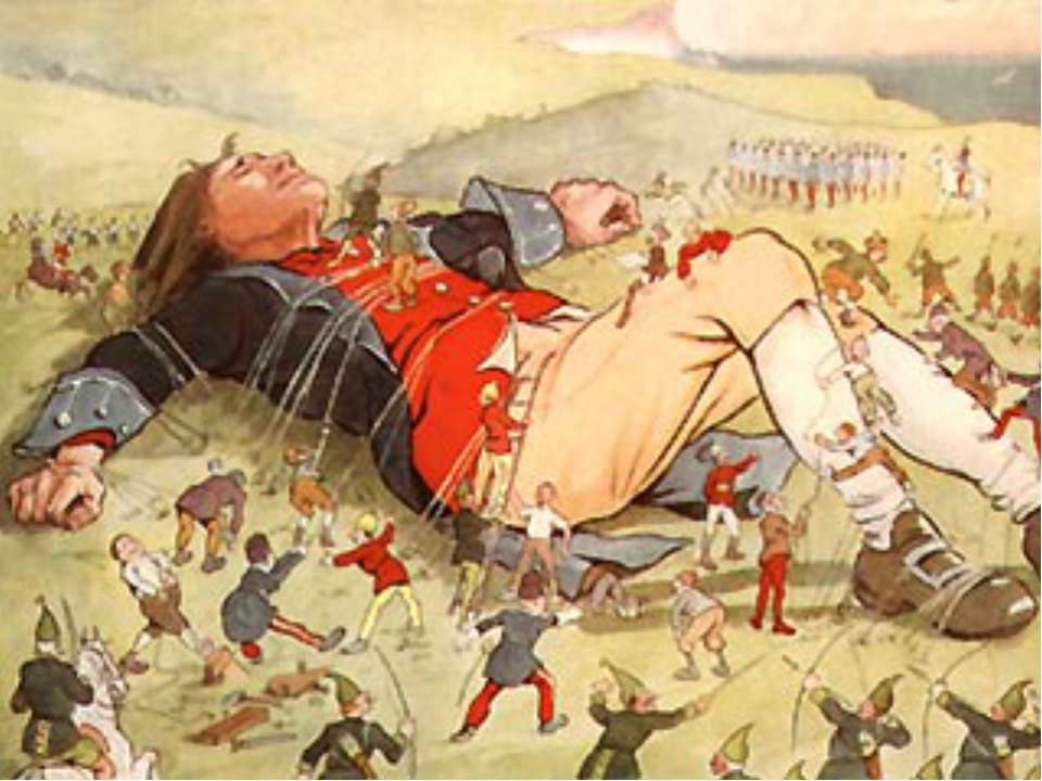satire in lilliput in jonathan swifts novel gullivers travels You are sunk first of all, there are many travels in swift's book most people only know of the one to lilliput, but that is one of many each land gulliver goes to is a political, religious, or social satire.