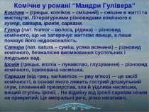 """Комічне у романі """"Мандри Гулівера"""" Комічне – (грецьк. кomikos – смішний) – см..."""