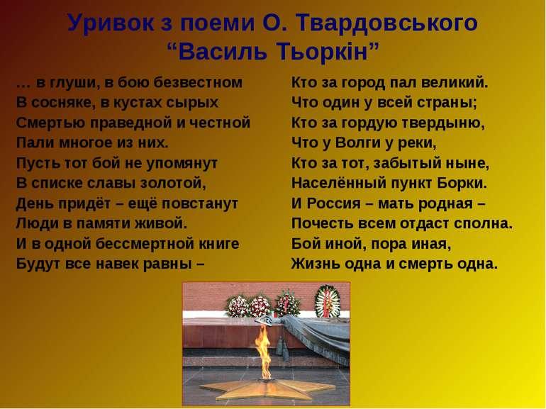 """Уривок з поеми О. Твардовського """"Василь Тьоркін"""" … в глуши, в бою безвестном ..."""