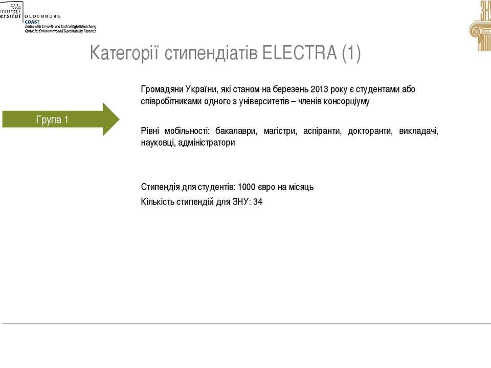 Категорії стипендіатів ELECTRA (1)