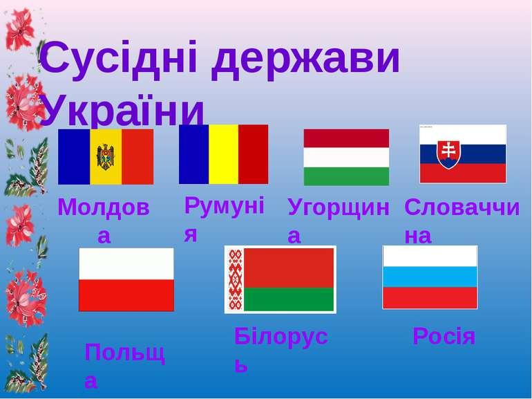 Сусідні держави України Молдова Румунія Угорщина Словаччина Польща Білорусь Р...
