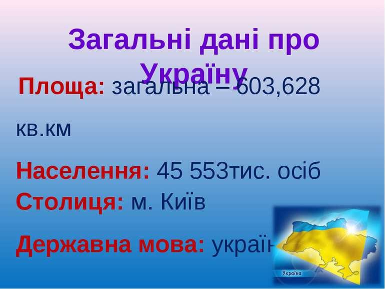 Загальні дані про Україну Площа: загальна – 603,628 кв.км Населення: 45 553ти...