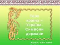 Твоя країна – Україна. Символи держави Вчитель: Хіміч Іванна Іванівна