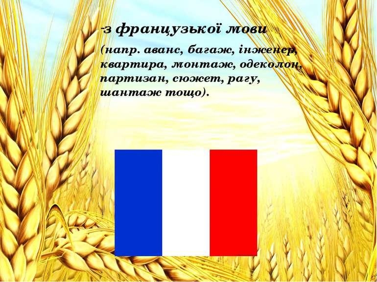 з французької мови з французької мови (напр. аванс, багаж, інженер, квартира,...