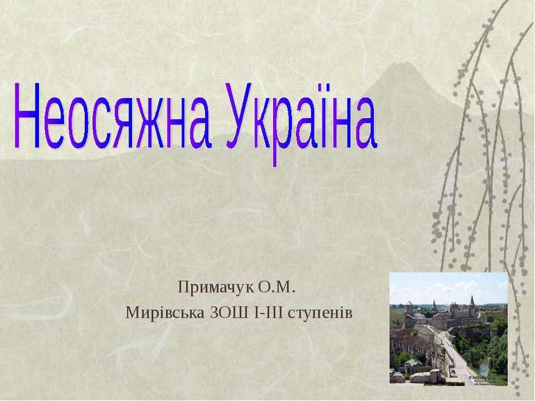 Примачук О.М. Мирівська ЗОШ І-ІІІ ступенів