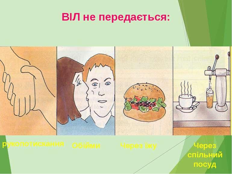 рукопотискання Обійми Через їжу Через спільний посуд ВІЛ не передається: