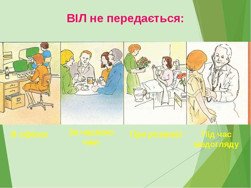 В офісах За чашкою чаю При розмові Під час медогляду ВІЛ не передається: