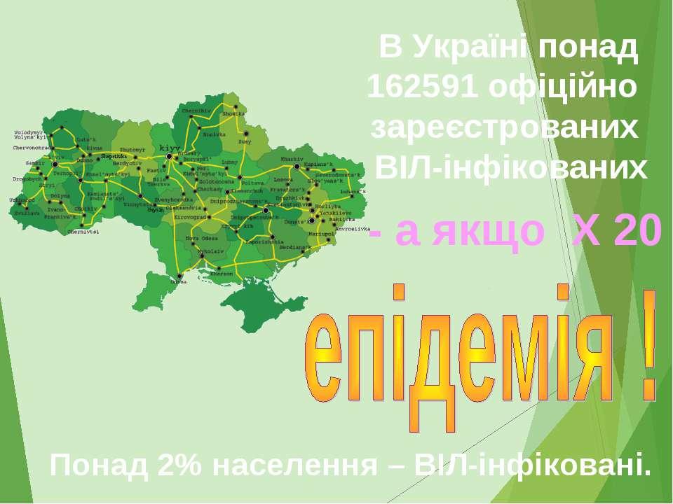 В Україні понад 162591 офіційно зареєстрованих ВІЛ-інфікованих Понад 2% насел...