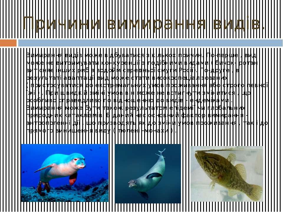 Причини вимирання видів. Вимирання видів може відбуватися з кількох причин. П...