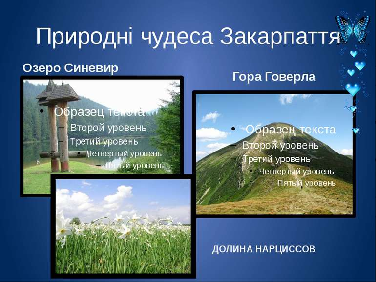 Природні чудеса Закарпаття Озеро Синевир Гора Говерла ДОЛИНА НАРЦИССОВ