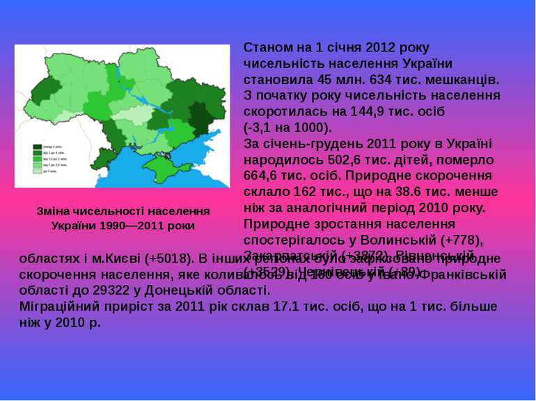 Станом на 1 січня 2012 року чисельність населення України становила 45 млн. 6...