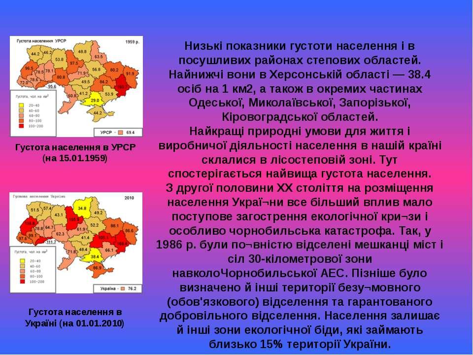 Густота населення в Україні (на 01.01.2010) Густота населення в УРСР (на 15.0...