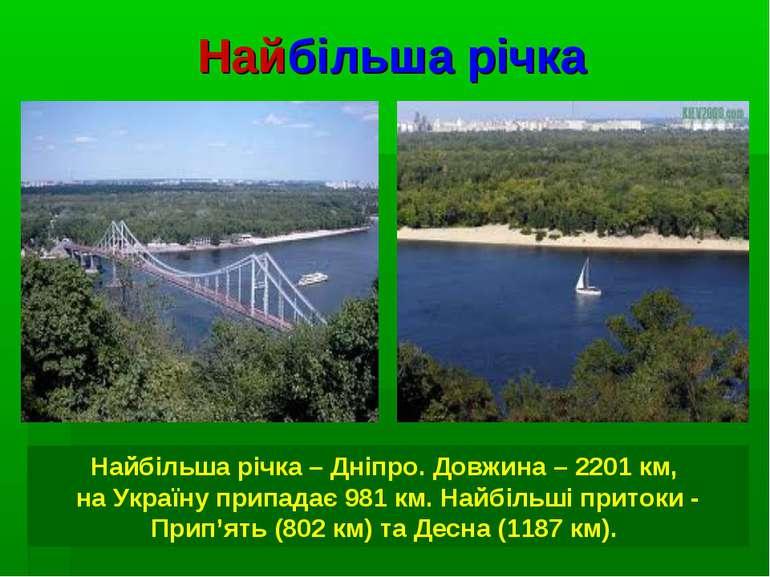 Найбільша річка Найбільша річка – Дніпро. Довжина – 2201 км, на Україну припа...