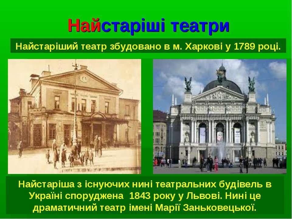 Найстаріші театри Найстаріший театр збудовано в м. Харкові у 1789 році. Найст...