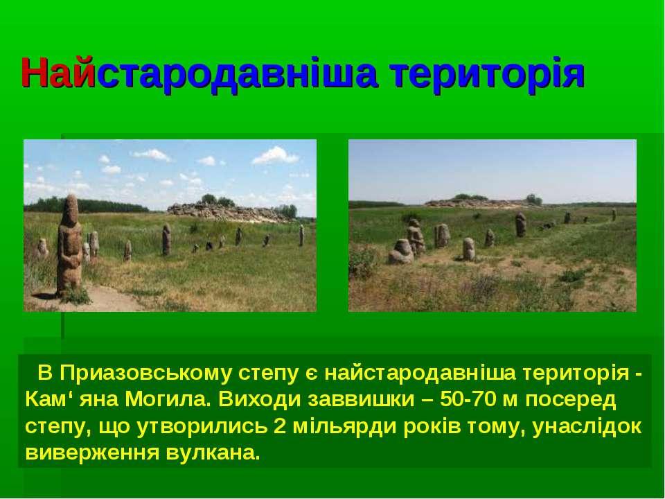 Найстародавніша територія В Приазовському степу є найстародавніша територія -...