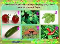 Завдання: відшукайте на фото продукти, з яких варили зелений борщ. 2 4 6 5 3 ...
