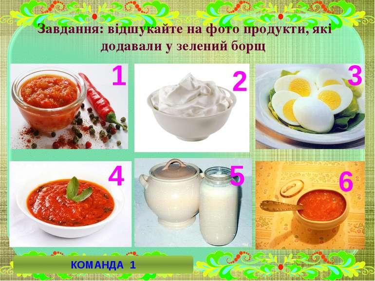 Завдання: відшукайте на фото продукти, які додавали у зелений борщ 5 6 4 3 2 ...