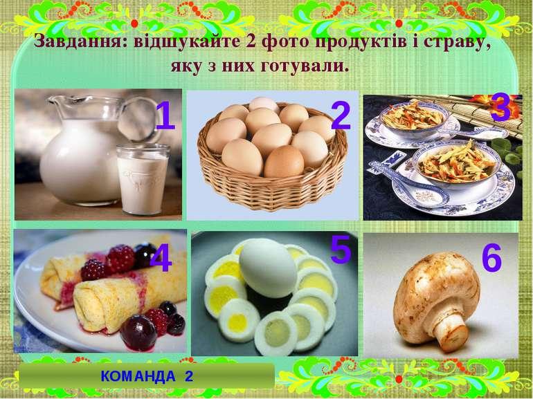 1 6 3 4 2 5 КОМАНДА 2 Завдання: відшукайте 2 фото продуктів і страву, яку з н...