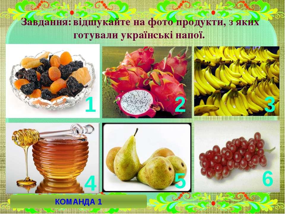 Завдання: відшукайте на фото продукти, з яких готували українські напої. 1 2 ...
