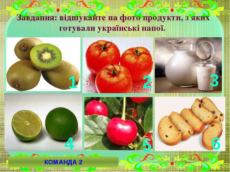 Завдання: відшукайте на фото продукти, з яких готували українські напої. 6 2 ...