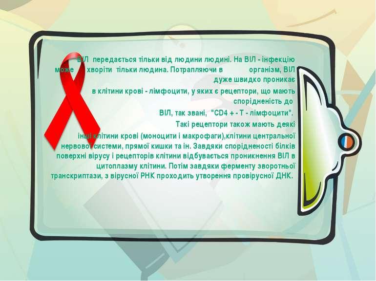 ВІЛ передається тільки від людини людині. На ВІЛ - інфекцію може хворіти ті...