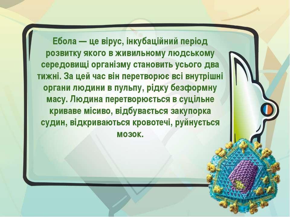 Ебола — це вірус, інкубаційний період розвитку якого в живильному людському с...