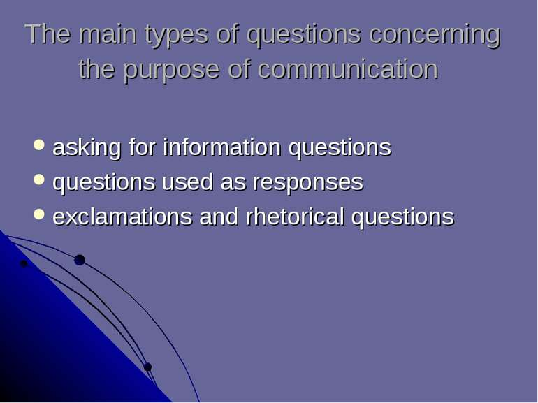 The main types of questions concerning the purpose of communication asking fo...