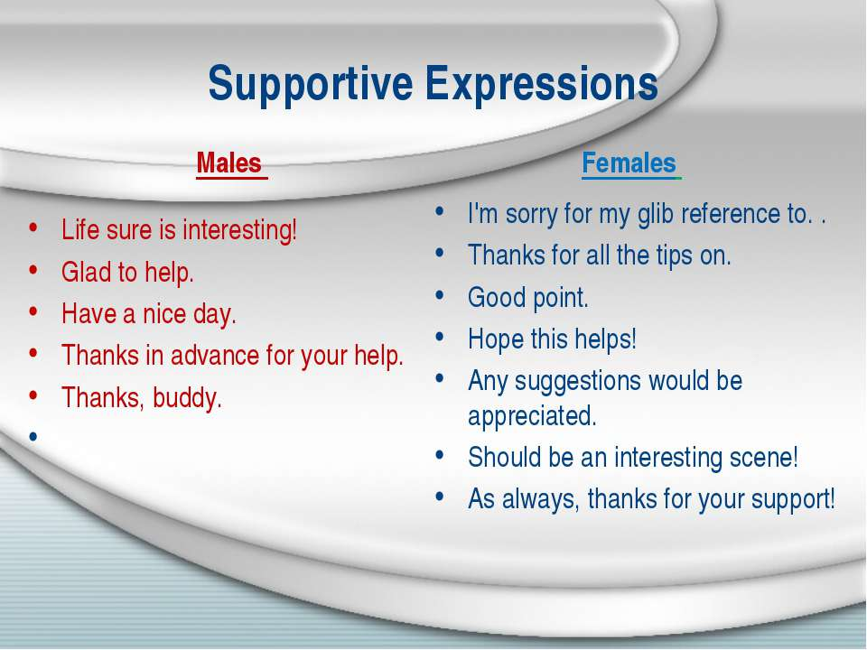 Supportive Expressions Males Life sure is interesting! Glad to help. Have a n...