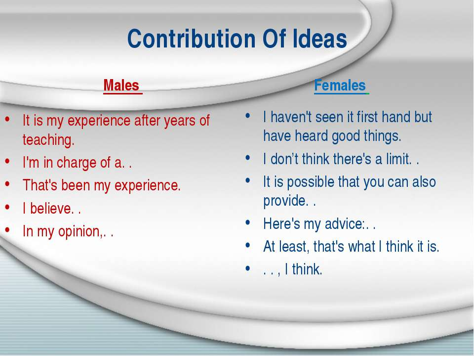Contribution Of Ideas Males It is my experience after years of teaching. I'm ...